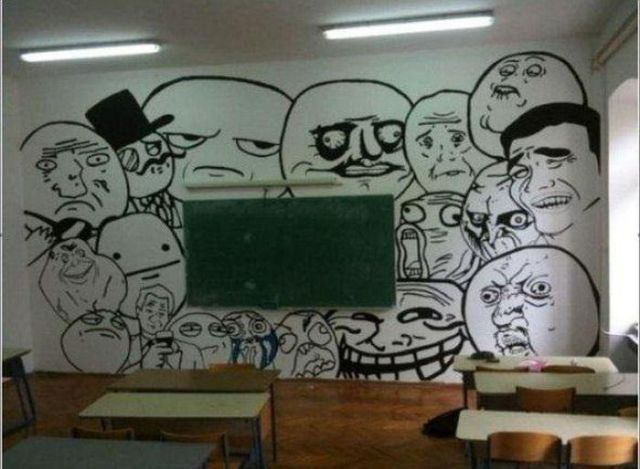 funny drawing on the blackboard in the classroom - school