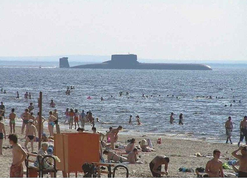 Submarine at the beach