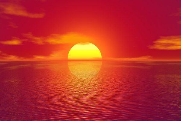 Romantic sunrise at sea